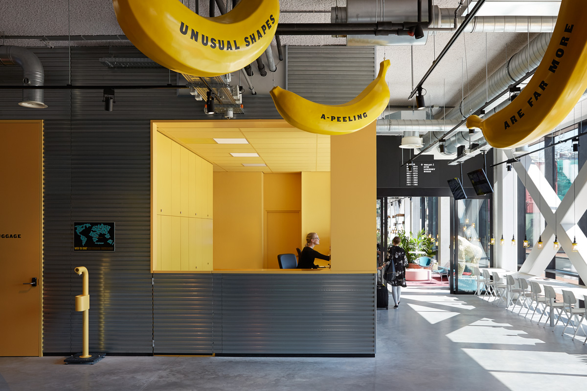 a-peeling banana decor and reception of student hotel Groningen